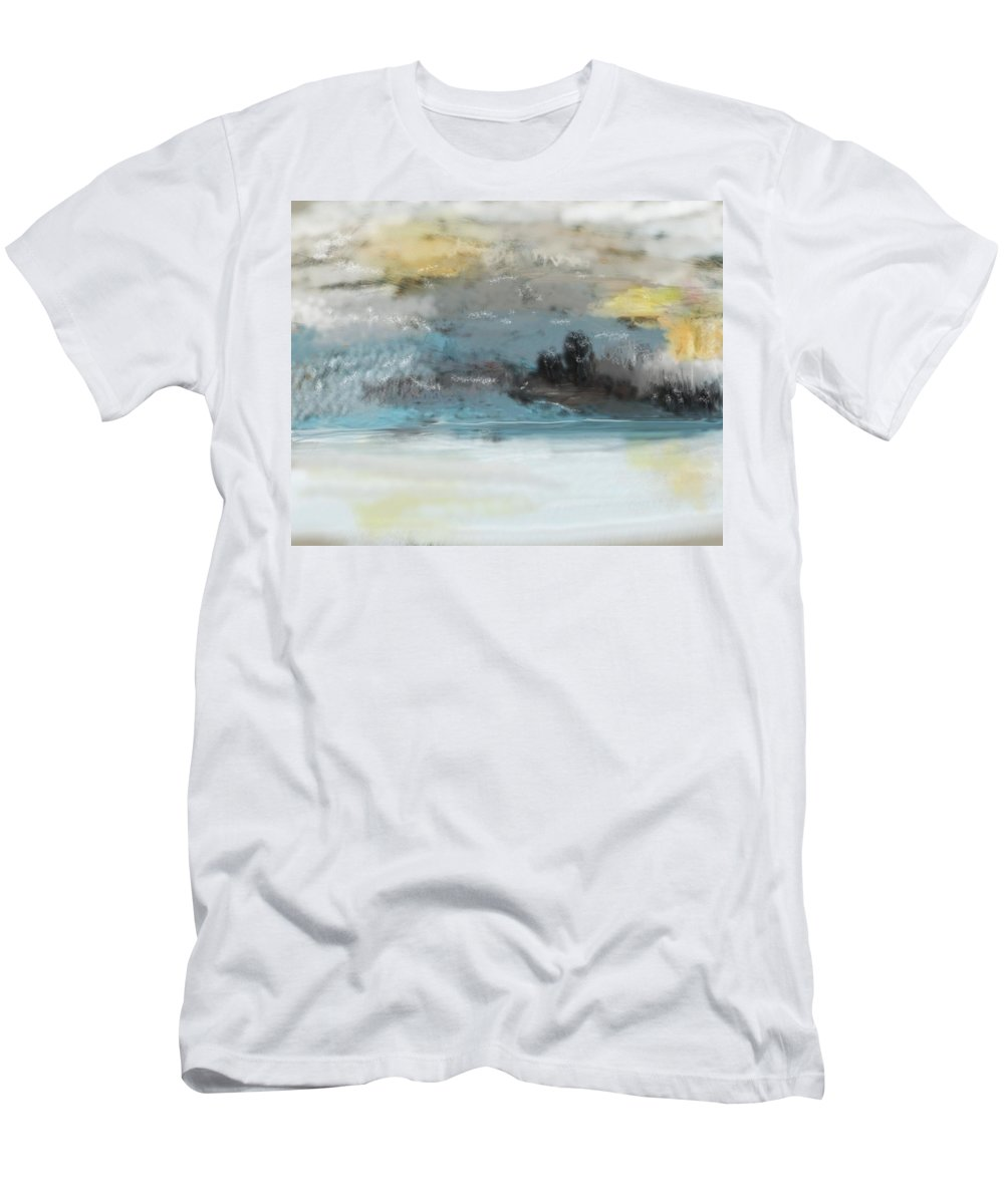 Landscape Men's T-Shirt (Athletic Fit) featuring the digital art Cold Day Lakeside Abstract Landscape by David Lane