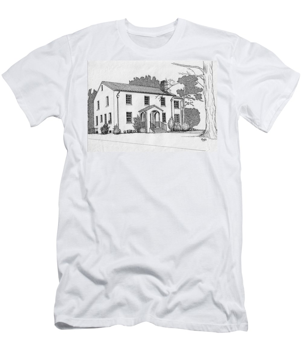 Drawing - Pen And Ink Men's T-Shirt (Athletic Fit) featuring the drawing Colonel Quarters 2 - Fort Benning Ga by Marco Morales
