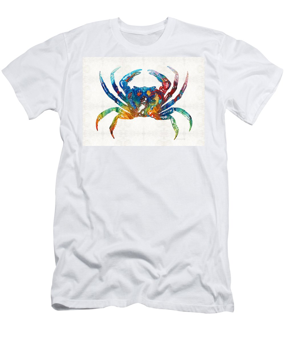 Crab Men's T-Shirt (Athletic Fit) featuring the painting Colorful Crab Art By Sharon Cummings by Sharon Cummings