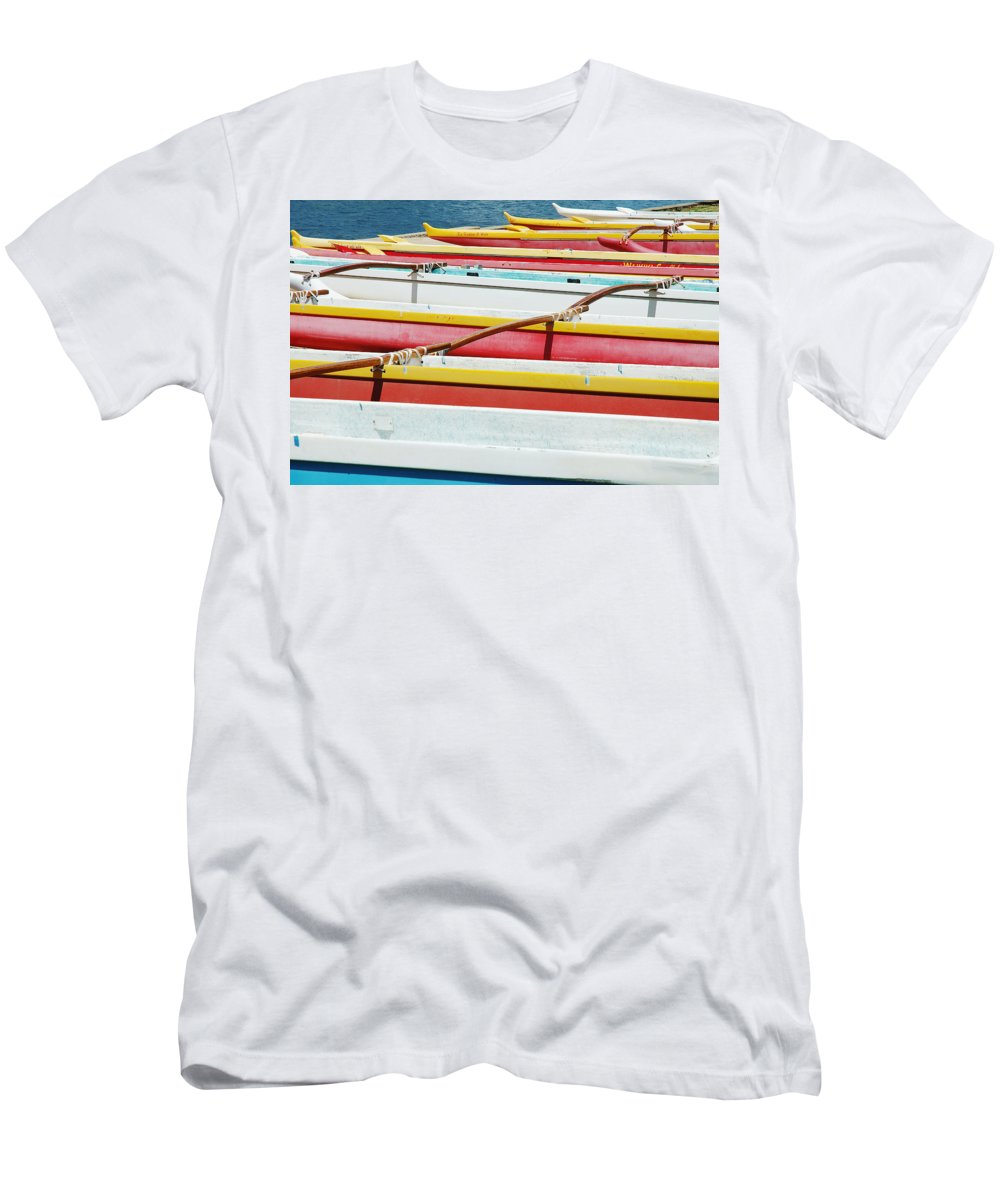 Afternoon Men's T-Shirt (Athletic Fit) featuring the photograph Colorful Outrigger Canoes by Mary Van de Ven - Printscapes