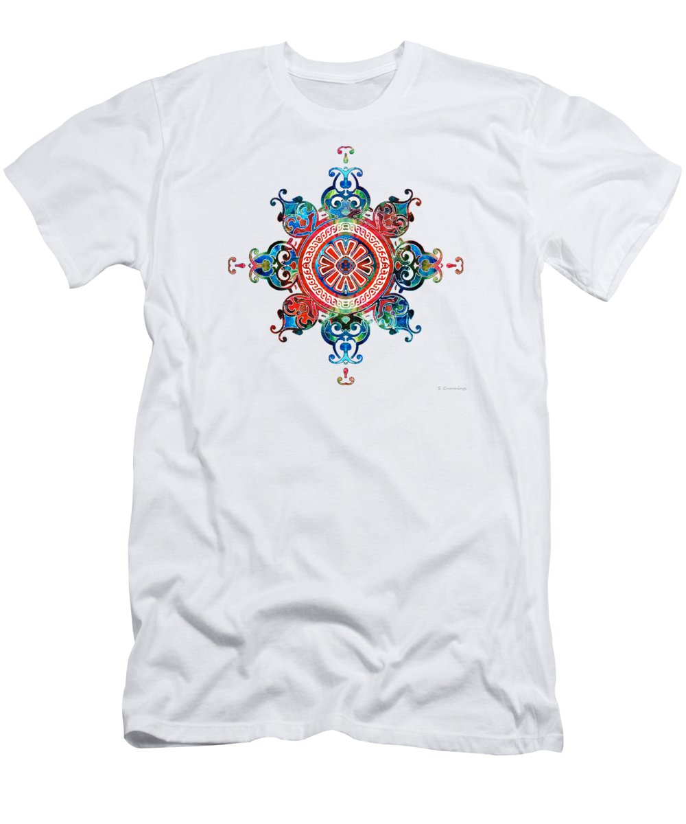 Mandala Men's T-Shirt (Athletic Fit) featuring the painting Colorful Pattern Art - Color Fusion Design 3 By Sharon Cummings by Sharon Cummings