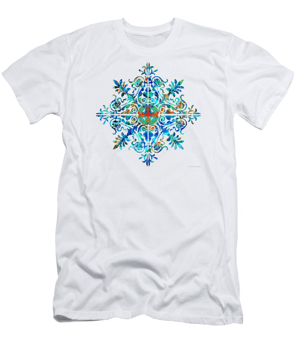 Mandala Men's T-Shirt (Athletic Fit) featuring the painting Colorful Pattern Art - Color Fusion Design 5 By Sharon Cummings by Sharon Cummings