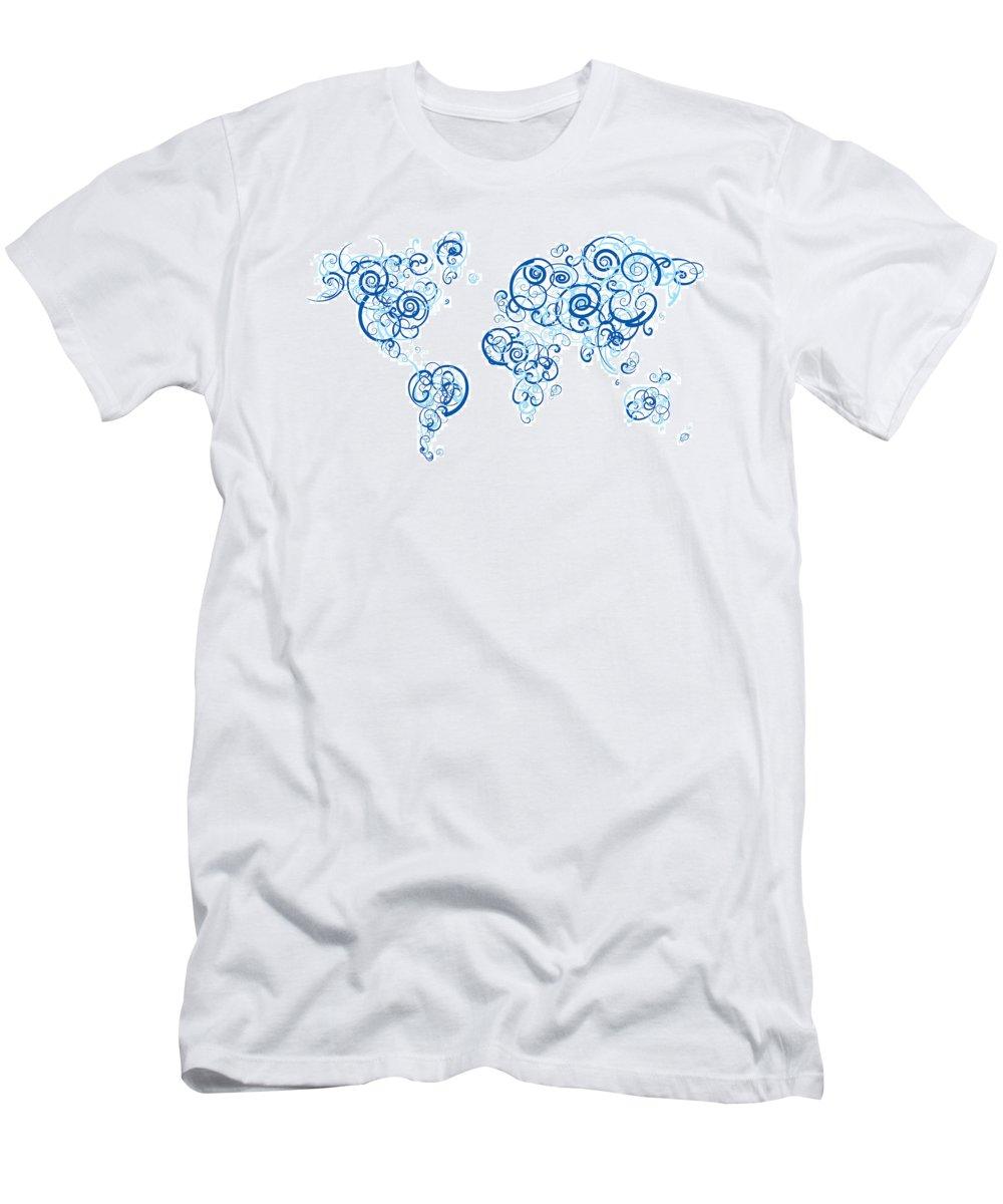 Globe Men's T-Shirt (Athletic Fit) featuring the digital art Columbia University Colors Swirl Map Of The World Atlas by Jurq Studio