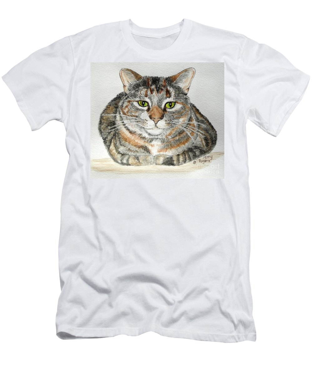 Cat Men's T-Shirt (Athletic Fit) featuring the drawing Comfortable Cat by Mary Rogers