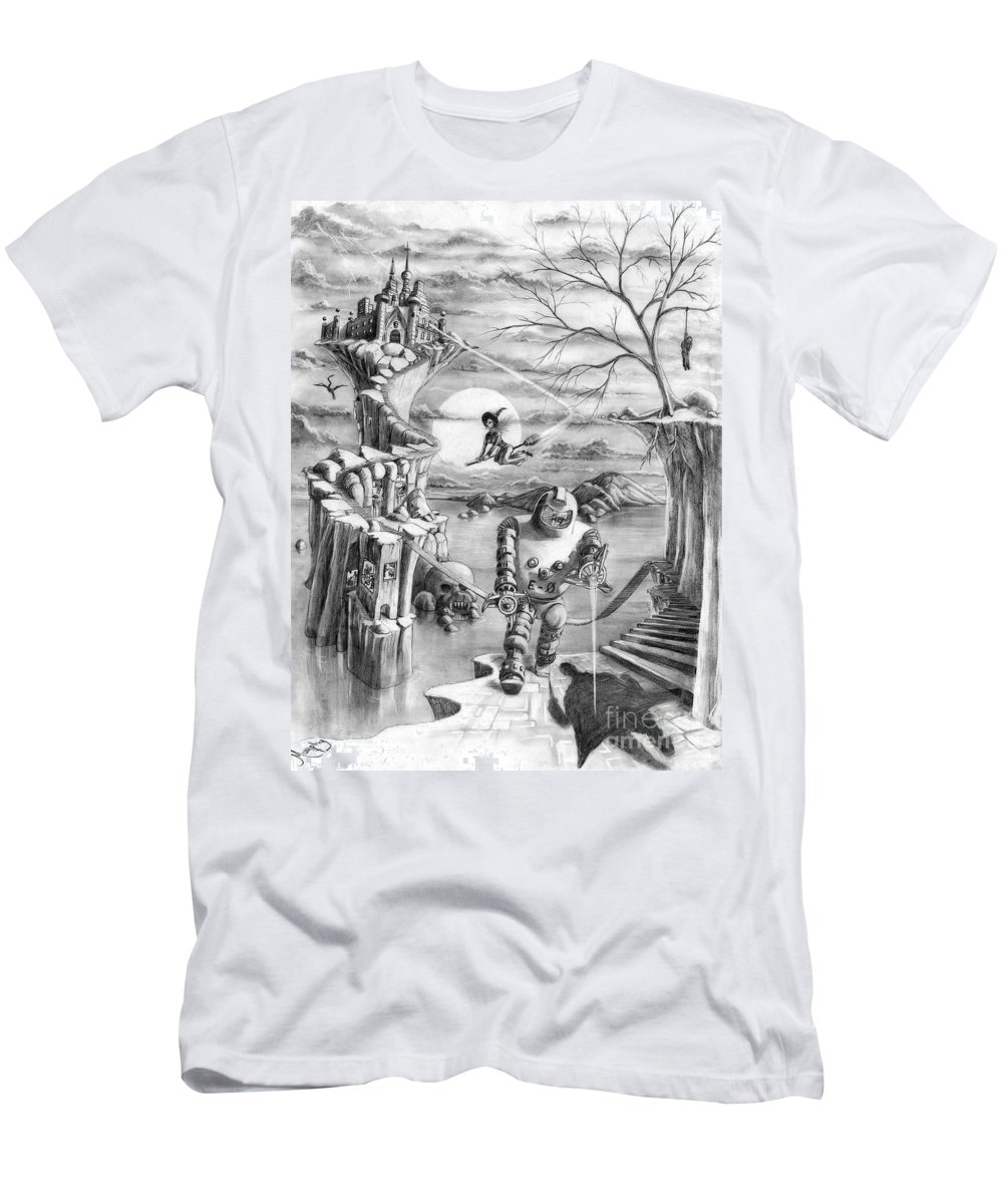 Witch Men's T-Shirt (Athletic Fit) featuring the drawing Comic Book Cover by Murphy Elliott