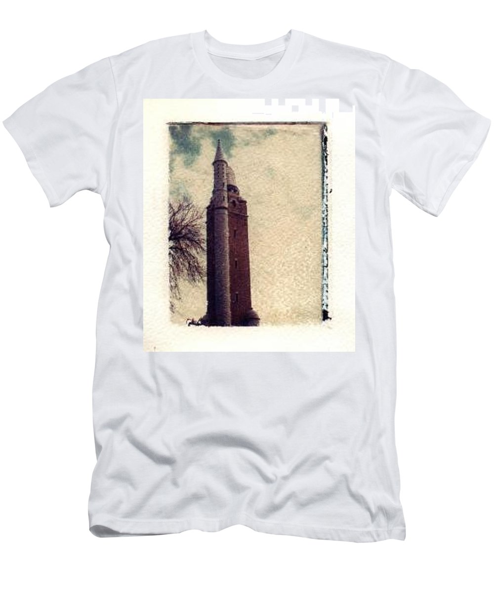 Polaroid Transfer Men's T-Shirt (Athletic Fit) featuring the photograph Compton Water Tower by Jane Linders