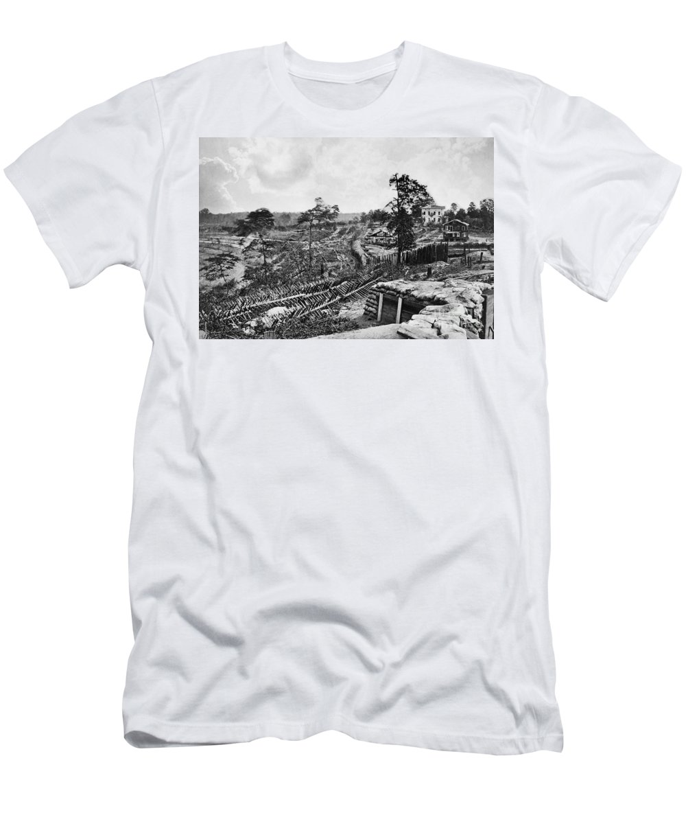 1863 Men's T-Shirt (Athletic Fit) featuring the photograph Confederate Fort by Granger