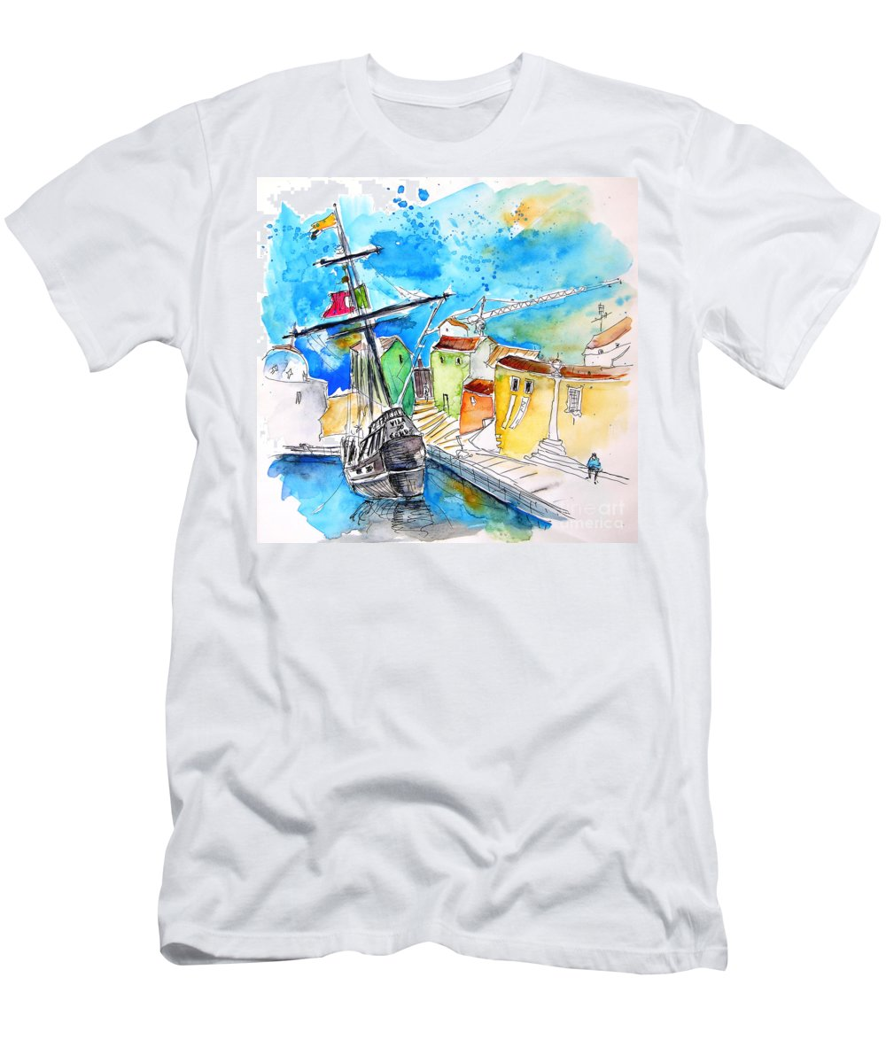 Portugal Men's T-Shirt (Athletic Fit) featuring the painting Conquistador Boat In Portugal by Miki De Goodaboom