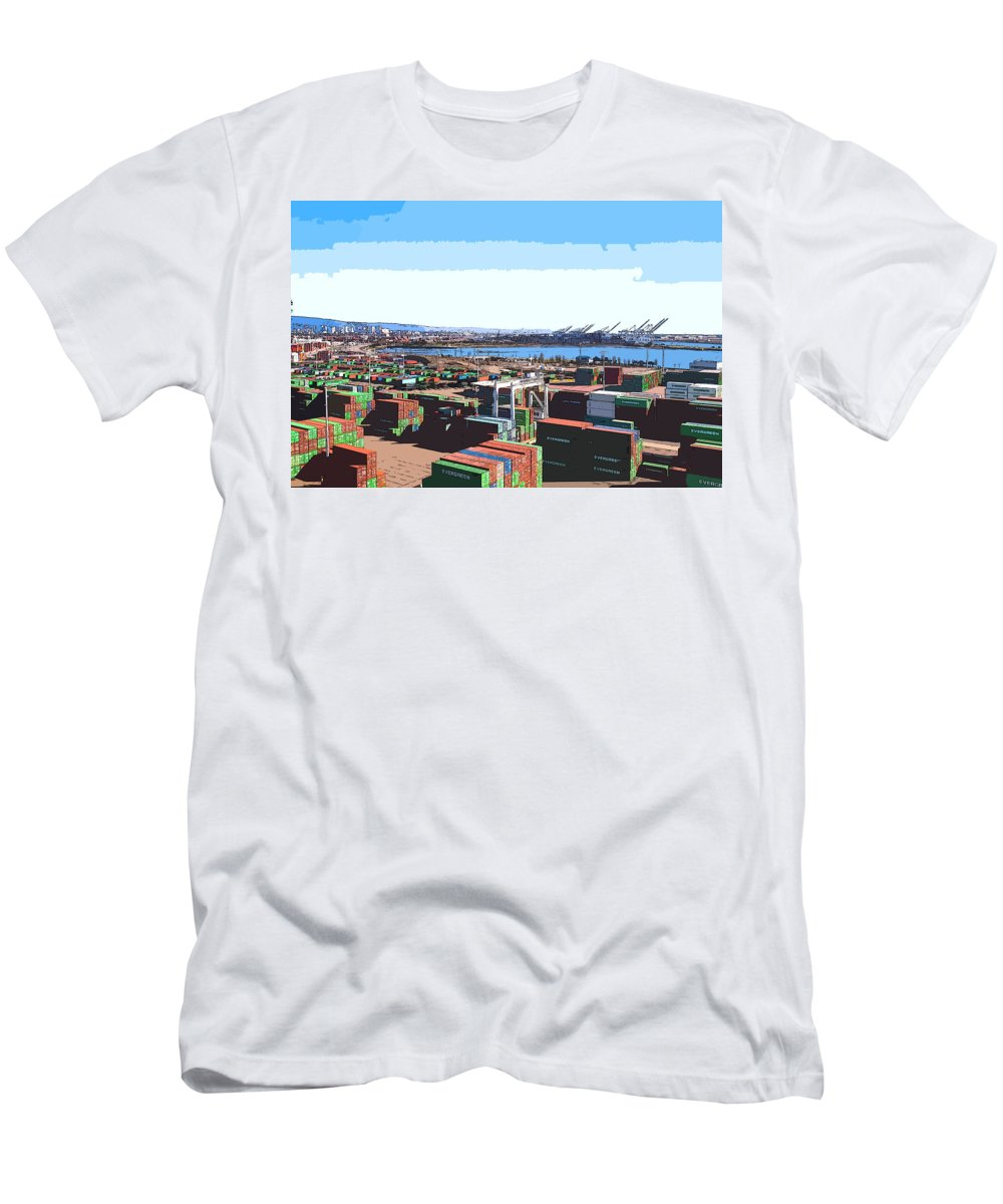 Container Terminal Men's T-Shirt (Athletic Fit) featuring the digital art Container Terminal by Lora Battle