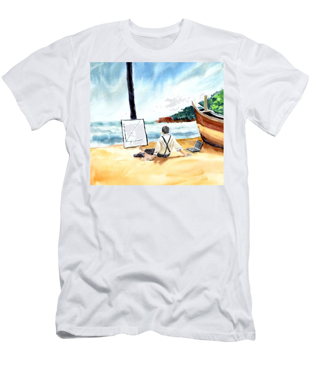 Landscape Men's T-Shirt (Athletic Fit) featuring the painting Contemplation by Anil Nene