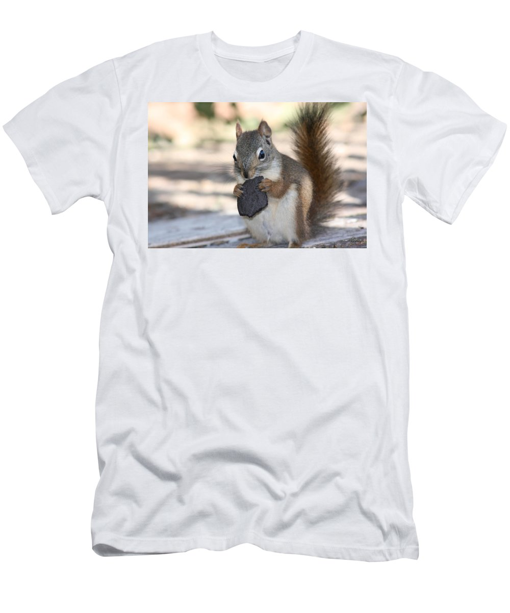 Cookie Squirrell Nature Wild Animal Chocolate Food Camping Outdoors Men's T-Shirt (Athletic Fit) featuring the photograph Cookie Monster by Andrea Lawrence