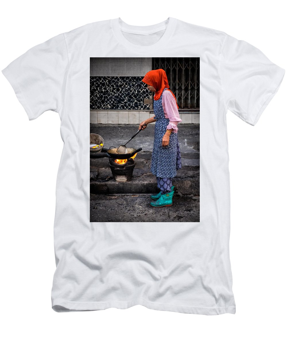 People Men's T-Shirt (Athletic Fit) featuring the photograph Cooking Breakfast by Lee Craker