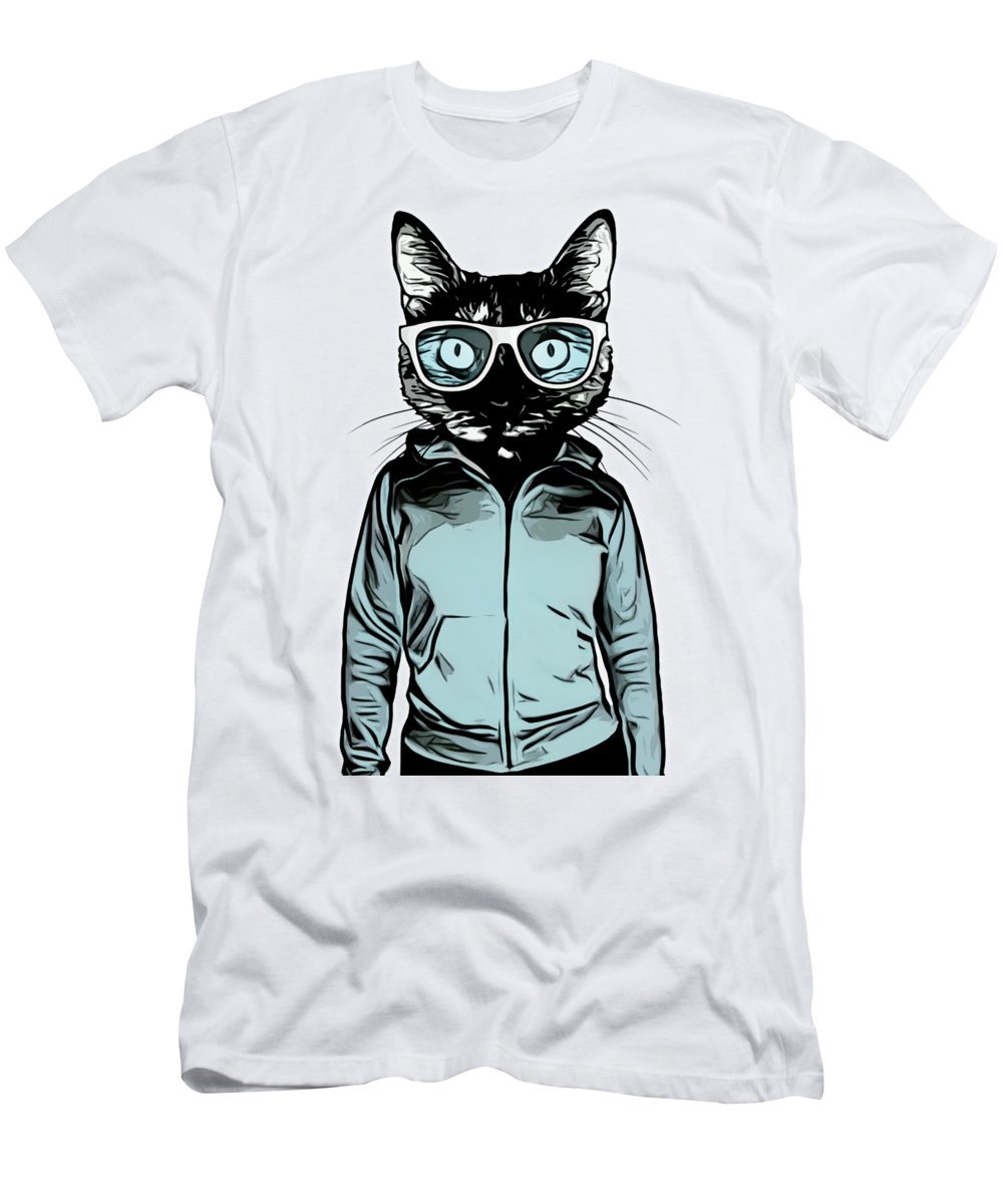 Cat T-Shirt featuring the mixed media Cool Cat by Nicklas Gustafsson