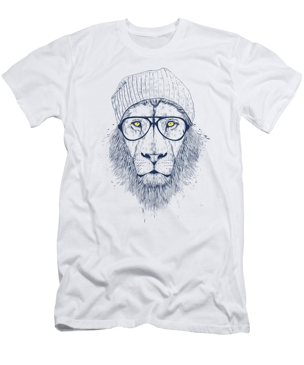 Lion T-Shirt featuring the drawing Cool lion by Balazs Solti