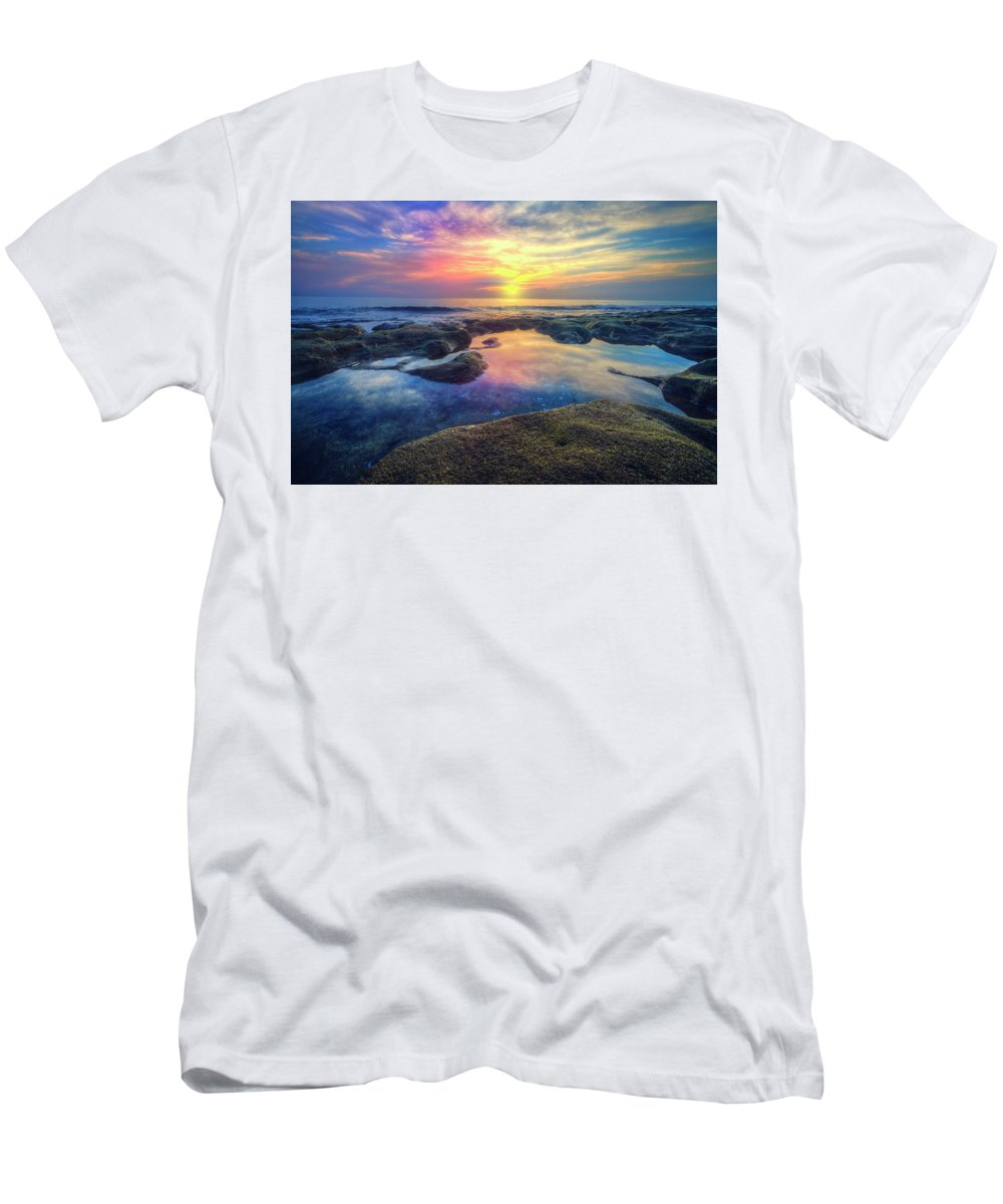 Clouds Men's T-Shirt (Athletic Fit) featuring the photograph Coral Pools by Debra and Dave Vanderlaan
