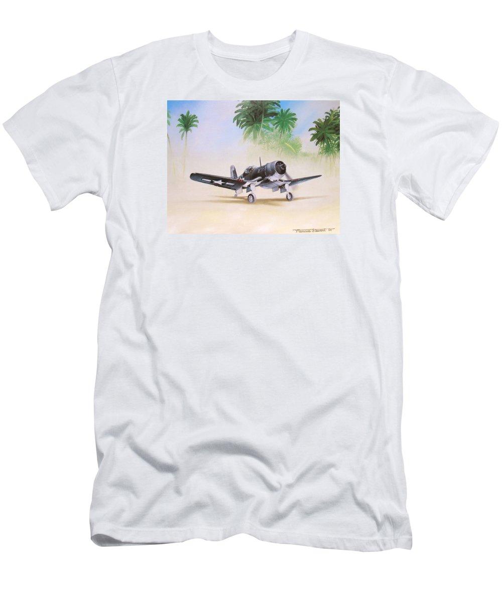 Aviation T-Shirt featuring the painting Corsair Preflight by Marc Stewart