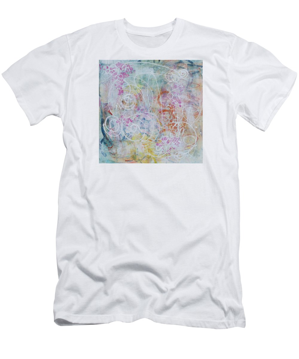 Abstract Men's T-Shirt (Athletic Fit) featuring the painting Cotton Candy And Ferris Wheels by Julie Acquaviva Hayes
