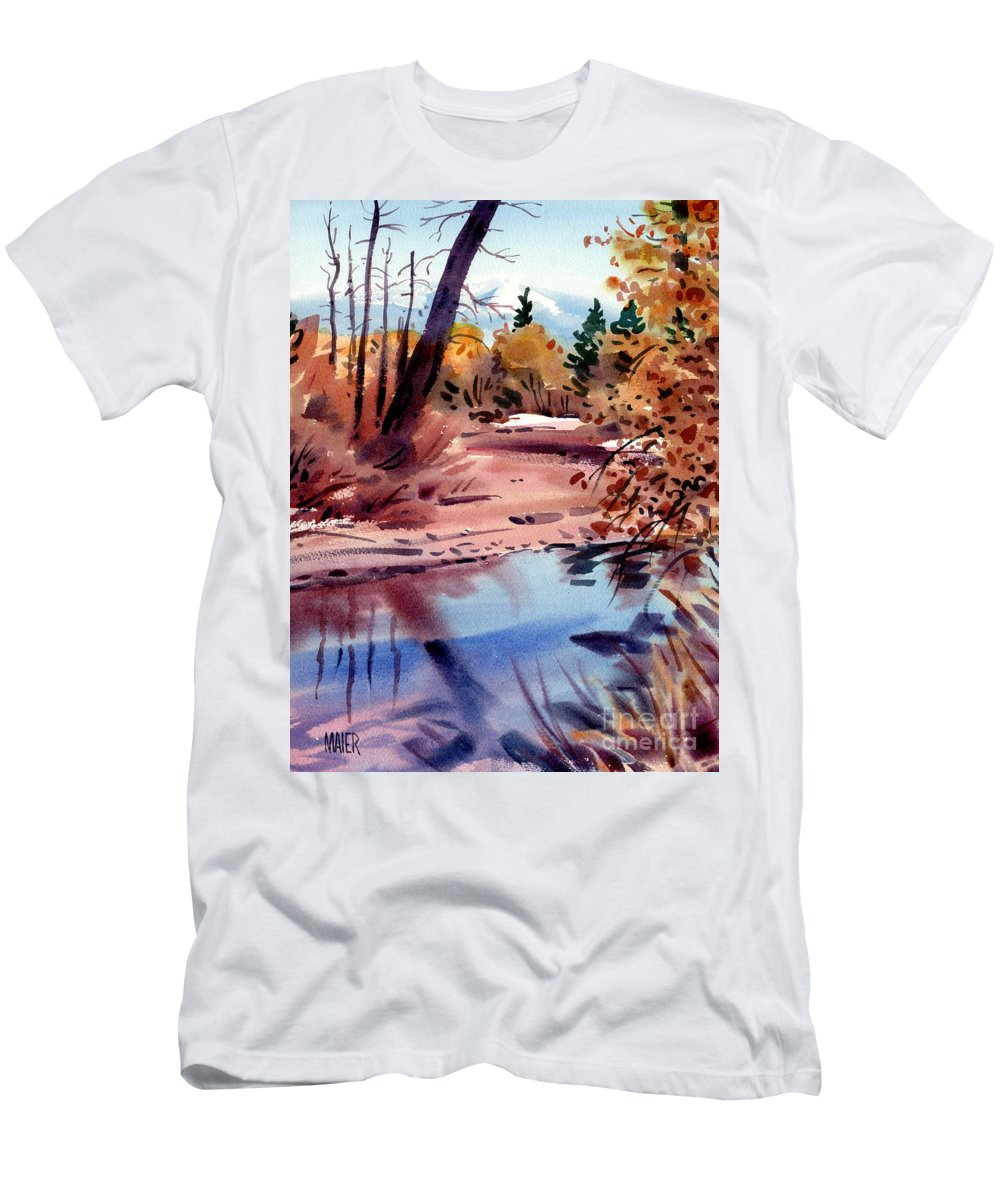 Cottonwood Trees Men's T-Shirt (Athletic Fit) featuring the painting Cottonwoods In October by Donald Maier