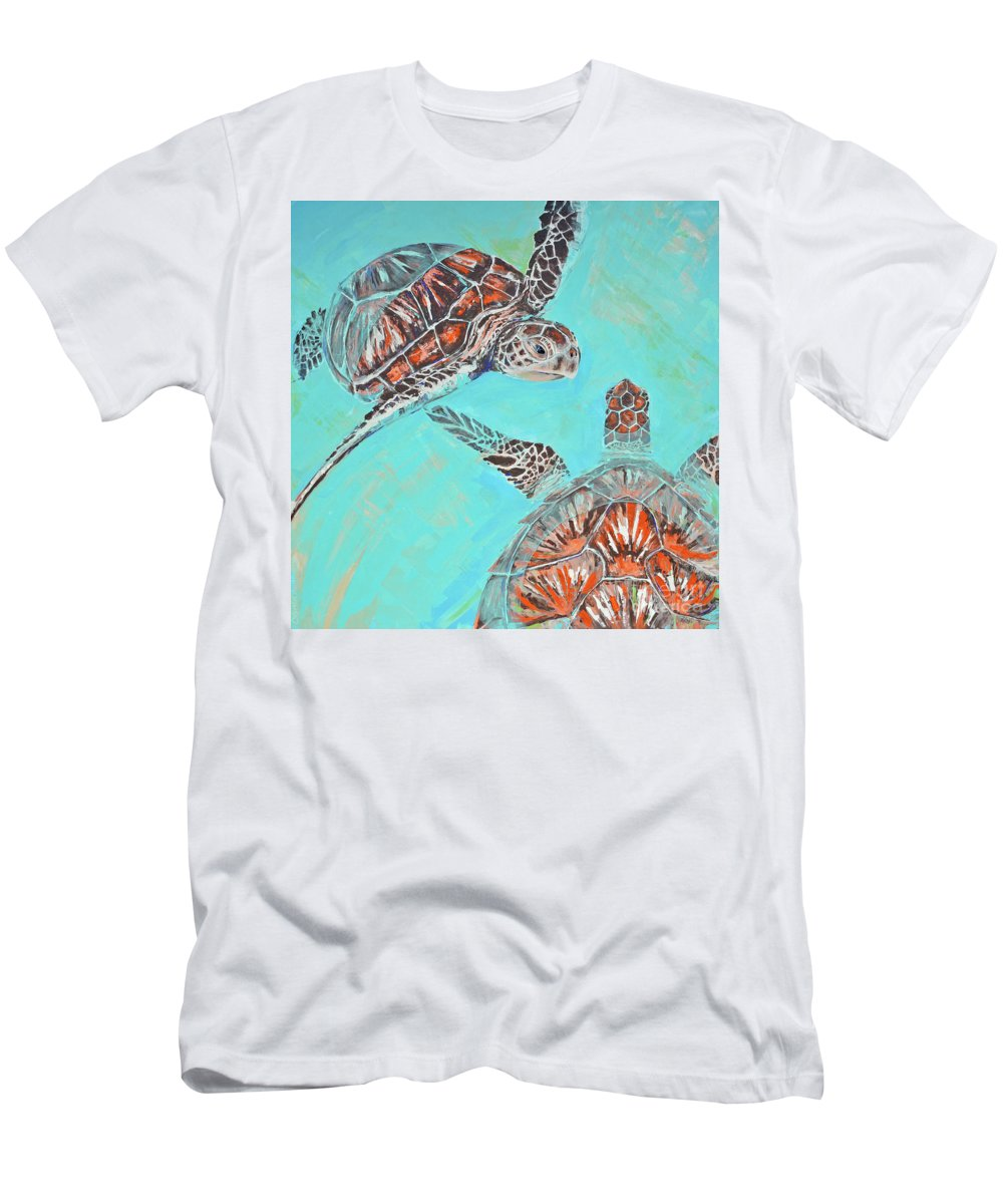 Turtles Men's T-Shirt (Athletic Fit) featuring the painting Couple Breathing by Paola Correa de Albury
