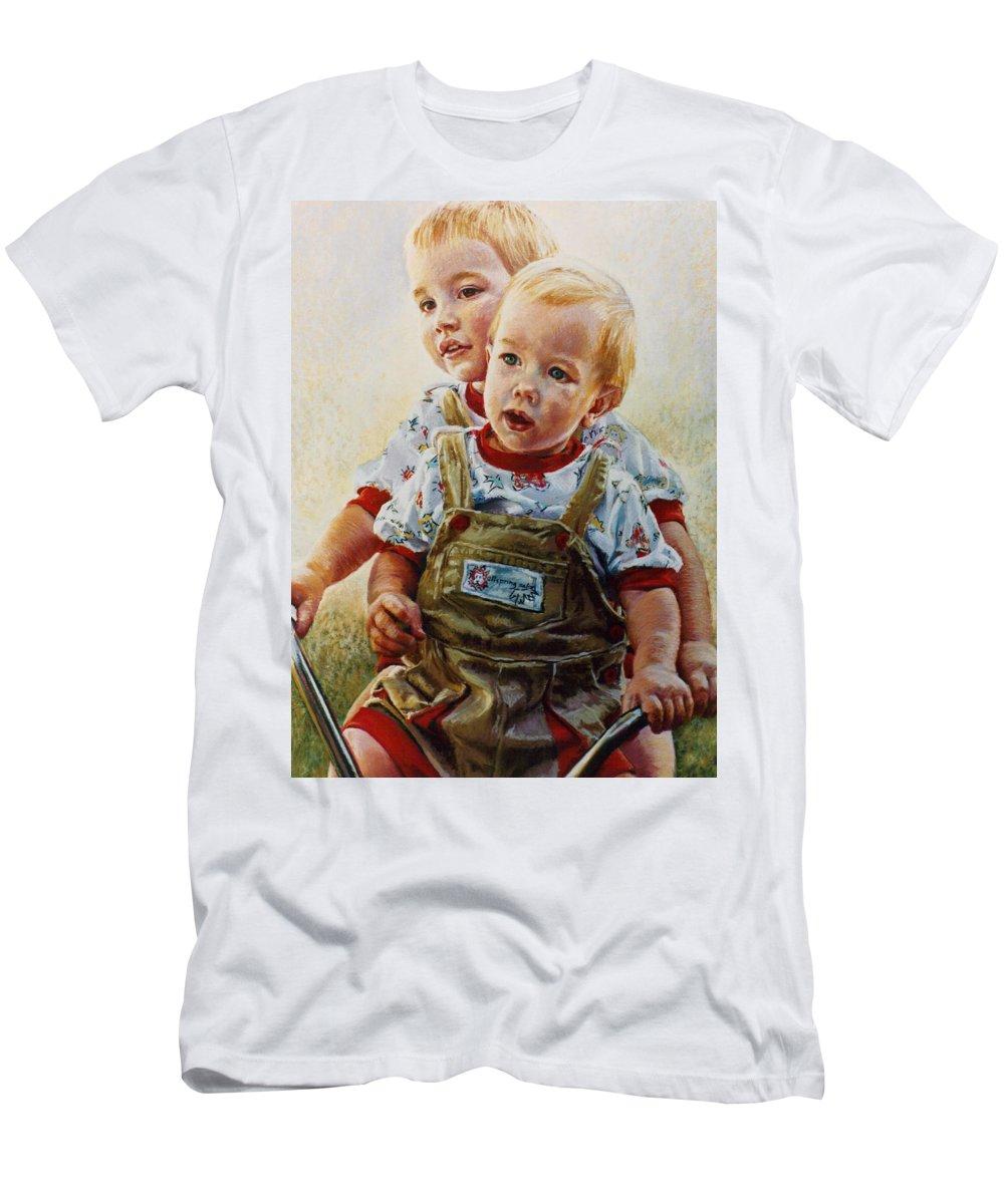 Pastel Portrait Men's T-Shirt (Athletic Fit) featuring the pastel Cousins by Jean Hildebrant
