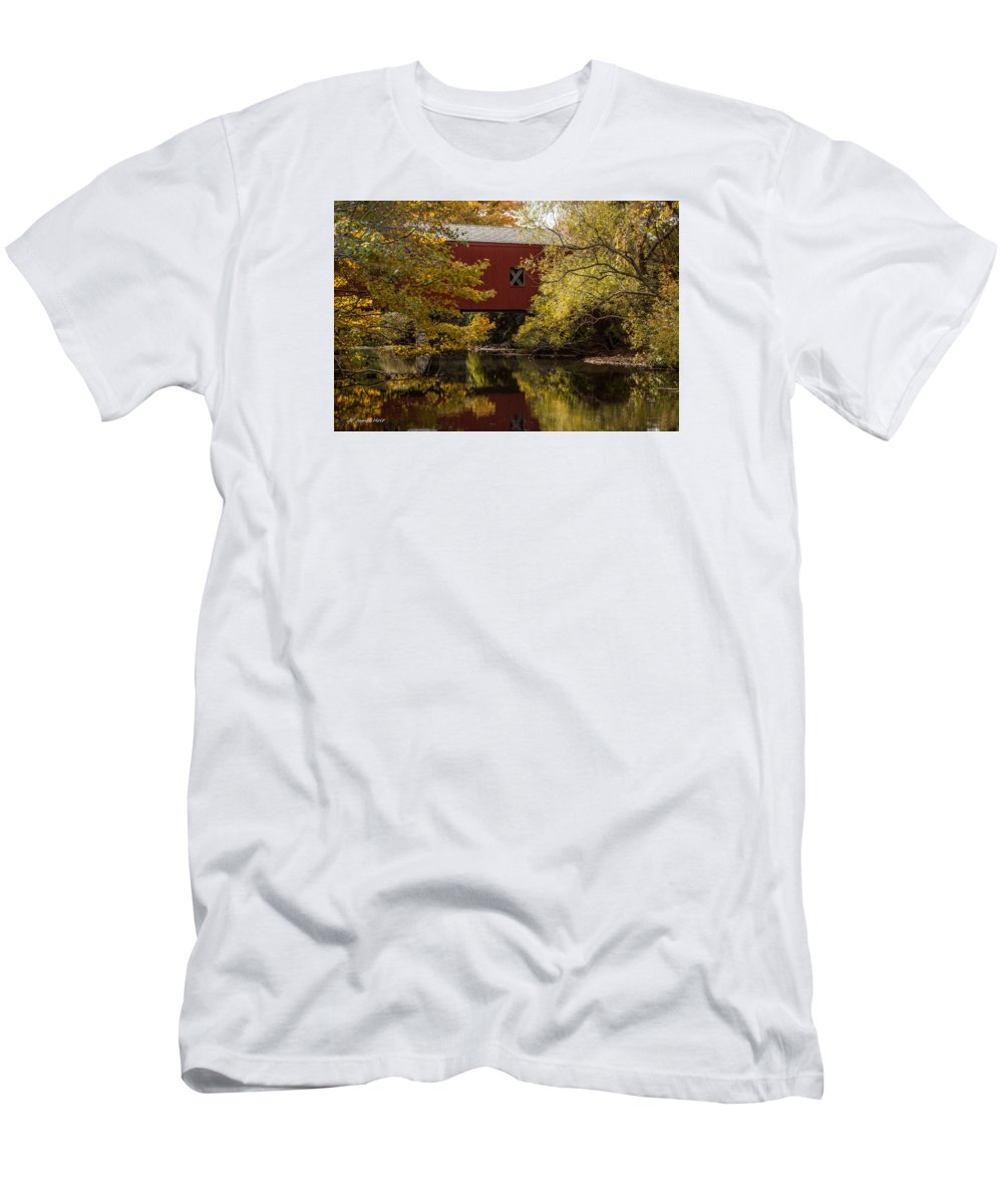 Covered Bridge Men's T-Shirt (Athletic Fit) featuring the photograph Covered Bridge by James Holt
