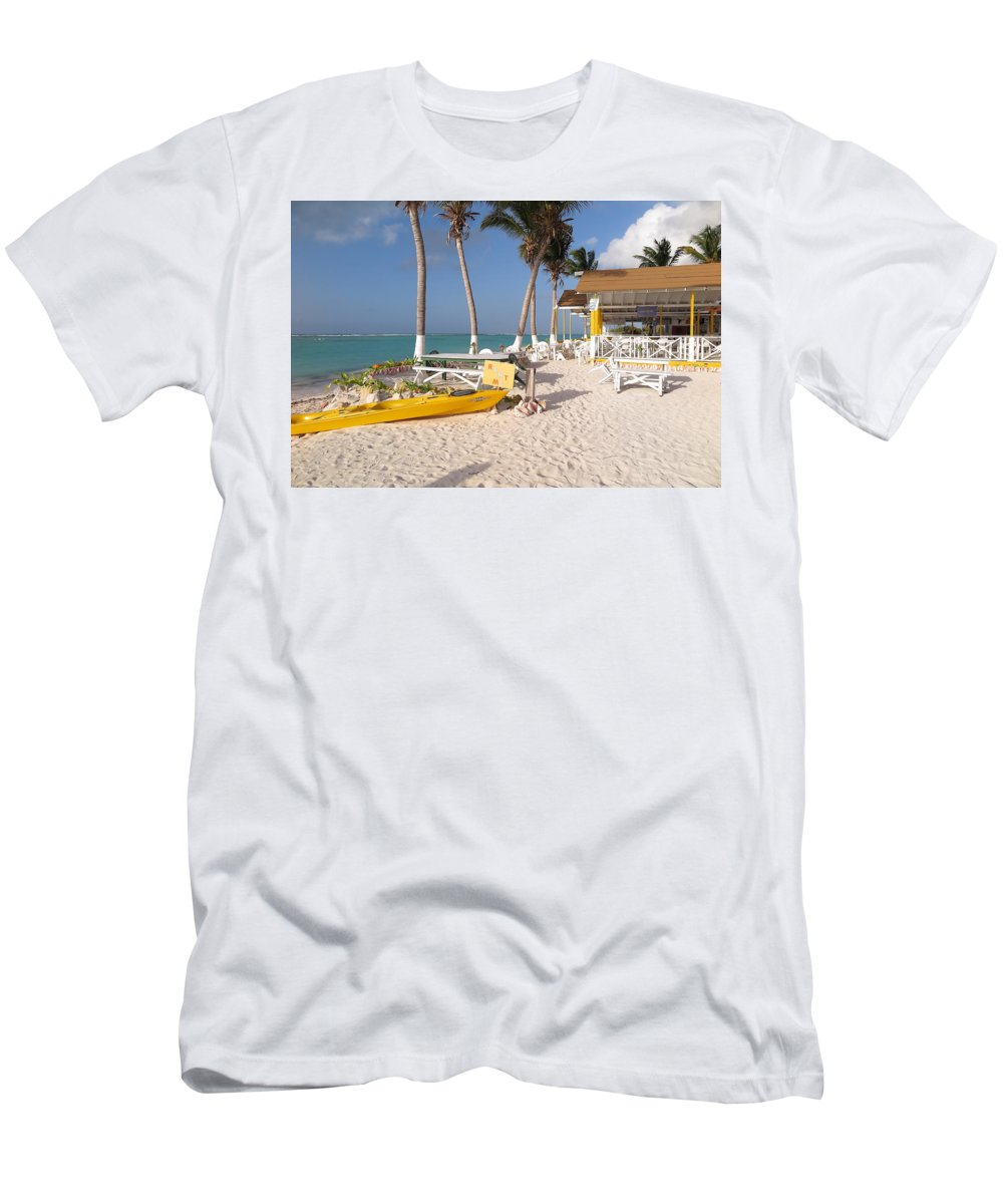 Cow Wreck Men's T-Shirt (Athletic Fit) featuring the photograph Cow Wreck Bay Beach Bar 2 by Eric Glaser
