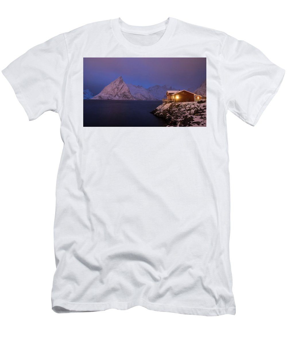 Norway Men's T-Shirt (Athletic Fit) featuring the photograph Cozy Cabin By The Fjord by Adrian Salcu