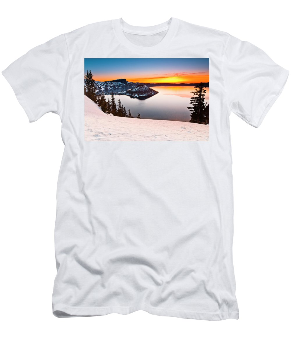 Cascades Men's T-Shirt (Athletic Fit) featuring the photograph Crater Lake Dawn by Greg Nyquist