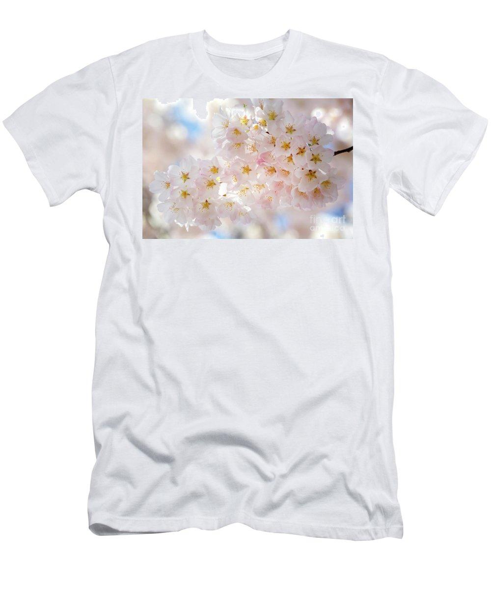 Washington Dc Men's T-Shirt (Athletic Fit) featuring the photograph Creamy Blossoms by Karen Jorstad