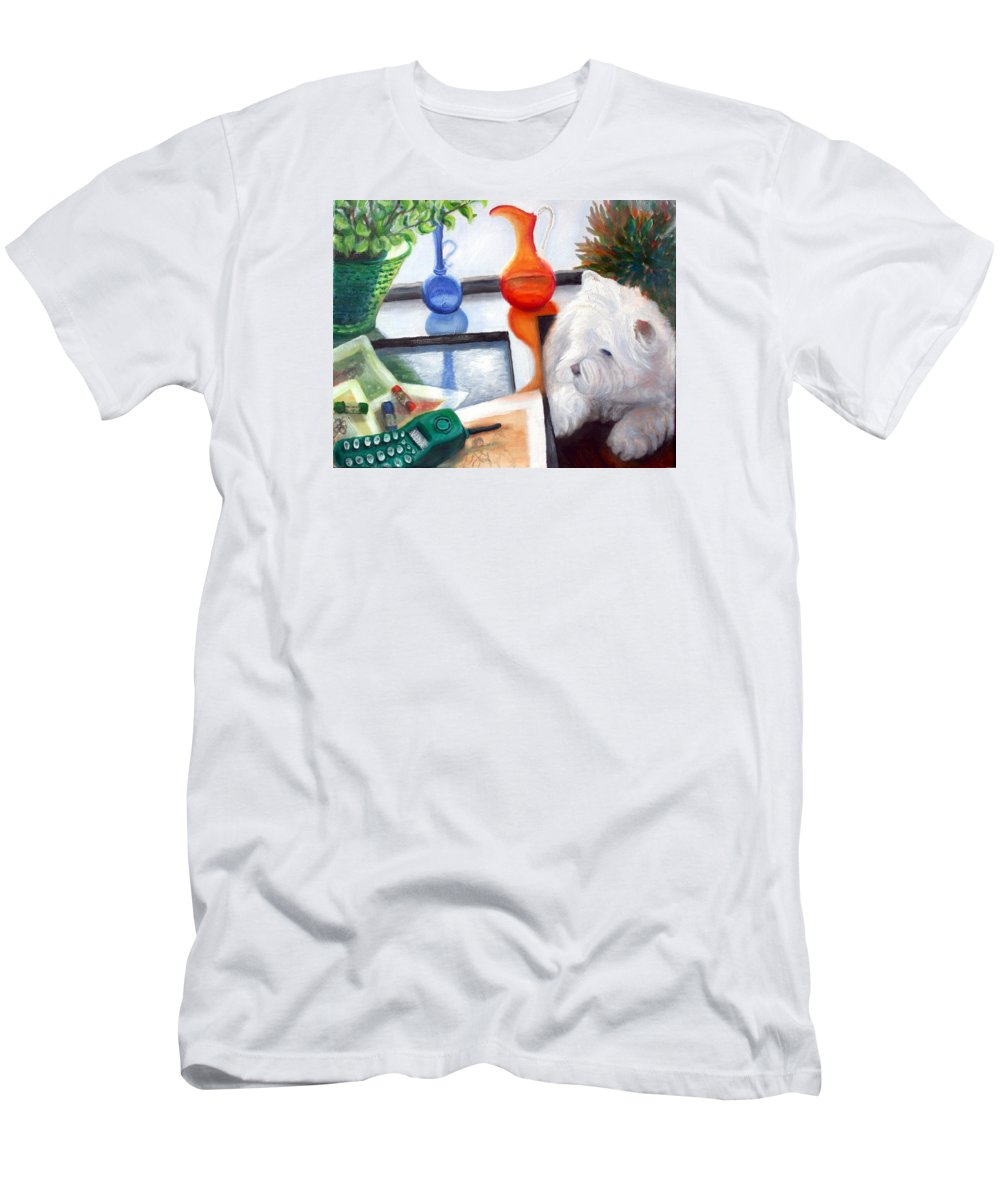 Dog Men's T-Shirt (Athletic Fit) featuring the painting Creative Reflections by Minaz Jantz