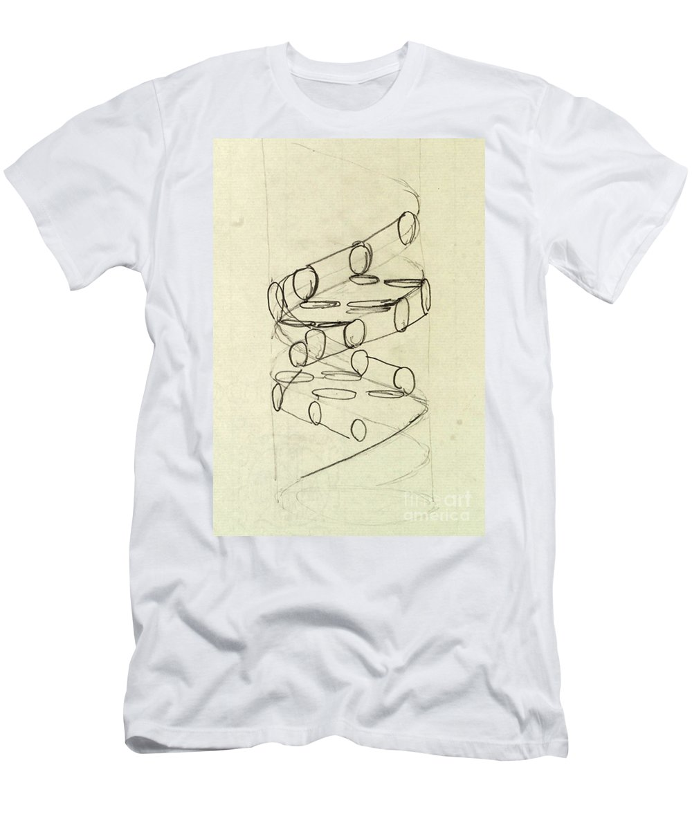 Dna Men's T-Shirt (Athletic Fit) featuring the photograph Cricks Original Dna Sketch by Science Source