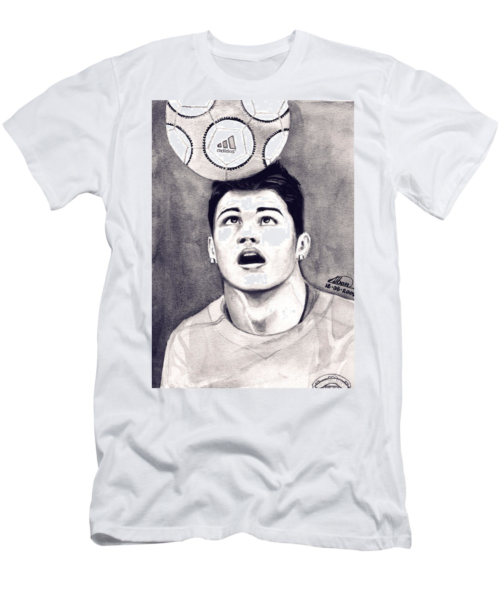 Ronaldo Portrait Men's T-Shirt (Athletic Fit) featuring the painting Cristiano Ronaldo by Alban Dizdari