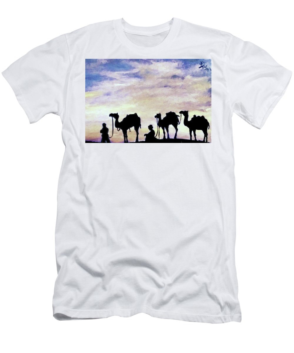 Sahara Men's T-Shirt (Athletic Fit) featuring the painting Crossing Sahara by Giuseppe Costantino