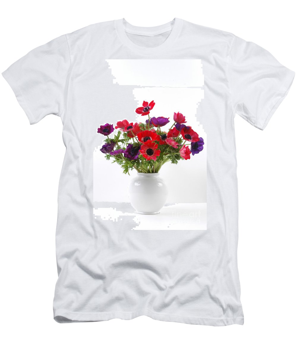 Flower Men's T-Shirt (Athletic Fit) featuring the photograph crown Anemone in a white vase by Ilan Amihai