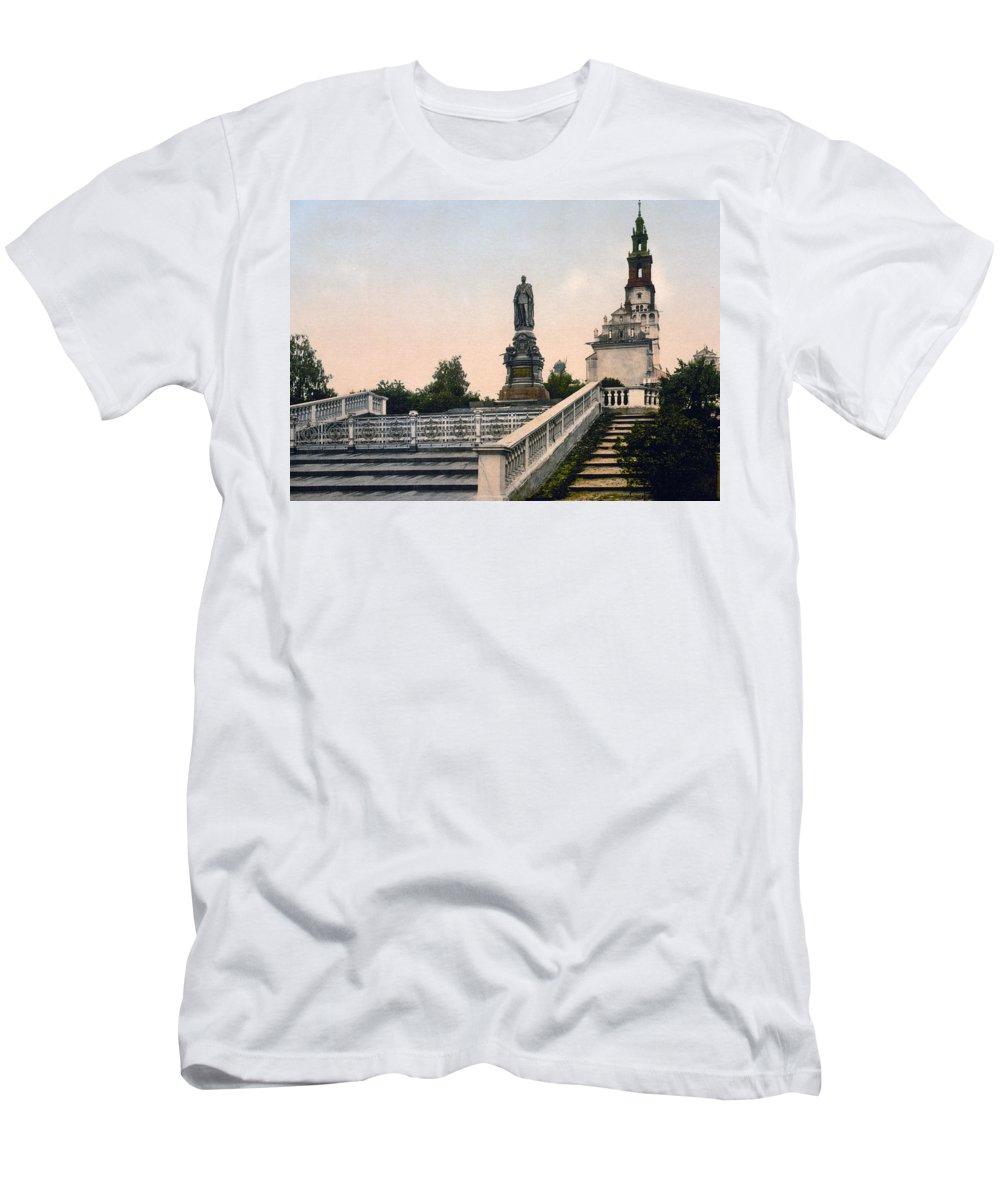 Czestochowa Men's T-Shirt (Athletic Fit) featuring the photograph Czar Alexanders Monument In Czestochowa - Poland - Ca 1900 by International Images