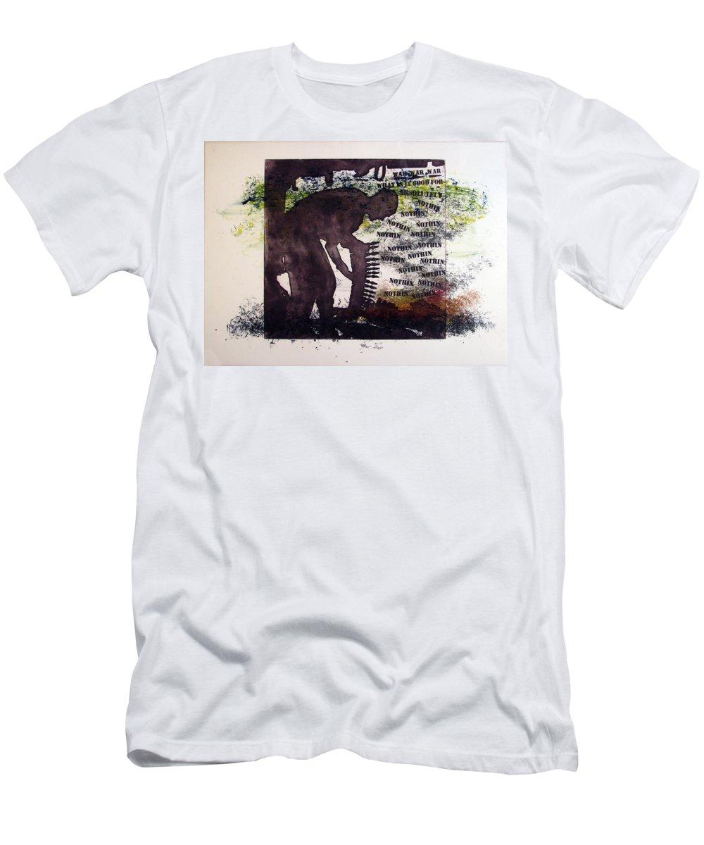 War Men's T-Shirt (Athletic Fit) featuring the painting D U Rounds Project, Print 5 by Erik Paul