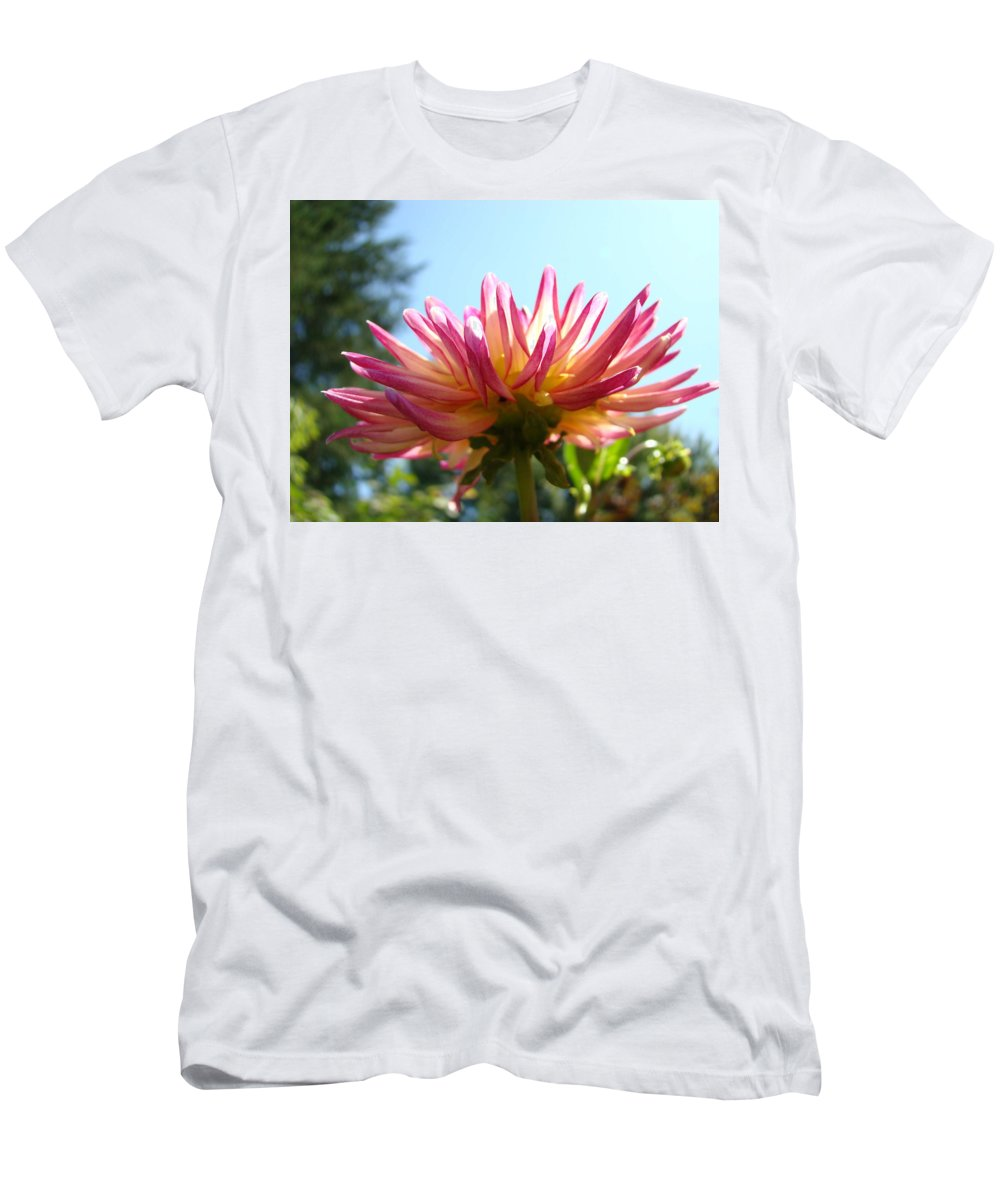 Dahlia Men's T-Shirt (Athletic Fit) featuring the photograph Dahlia Floral Garden Art Prints Canvas Summer Blue Sky Baslee Troutman by Baslee Troutman