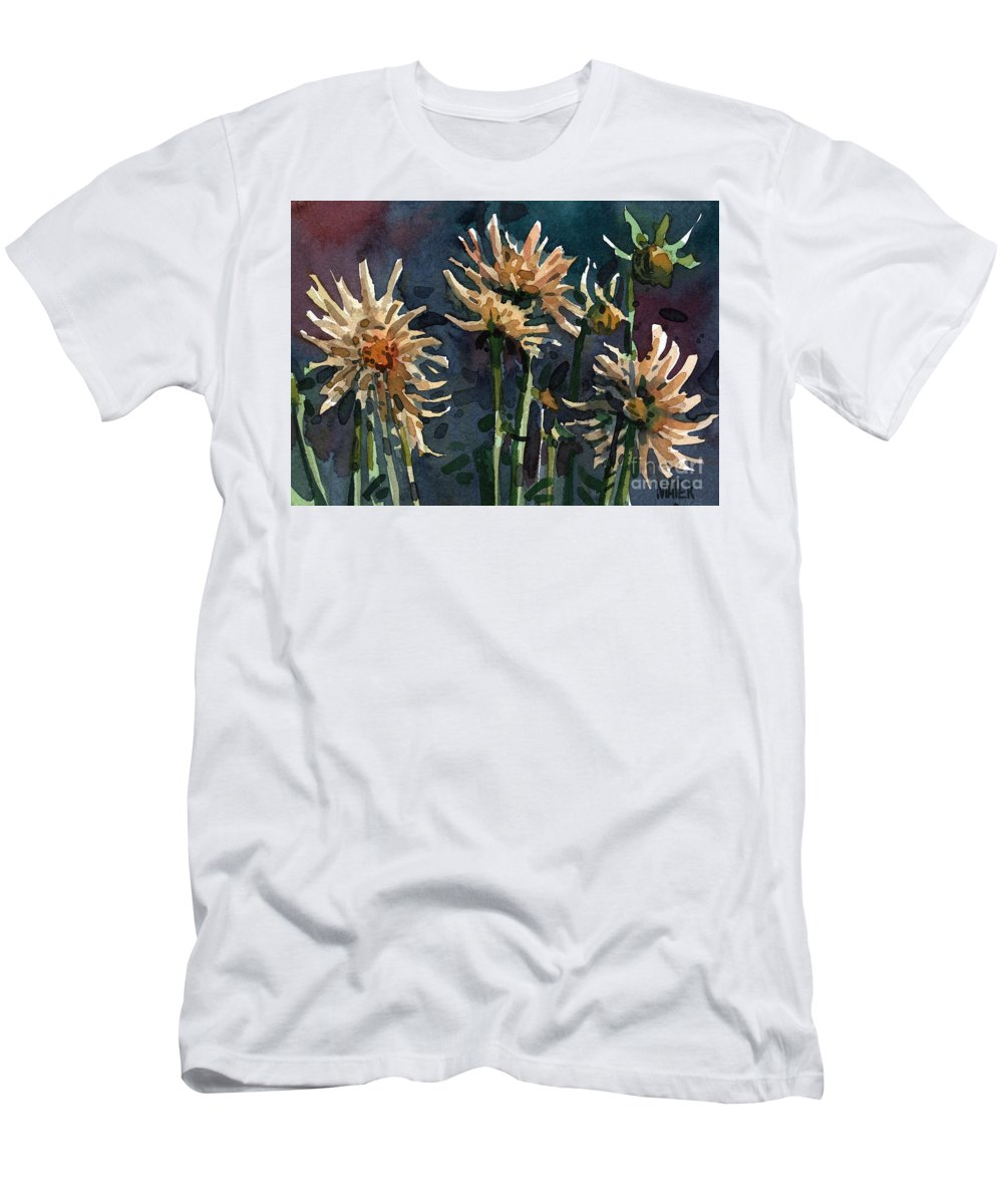 Floral Men's T-Shirt (Athletic Fit) featuring the painting Dahlias by Donald Maier