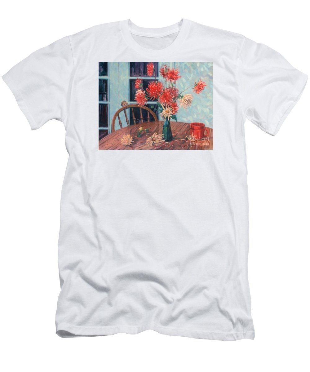 Still Life Men's T-Shirt (Athletic Fit) featuring the painting Dahlias With Red Cup by Donald Maier