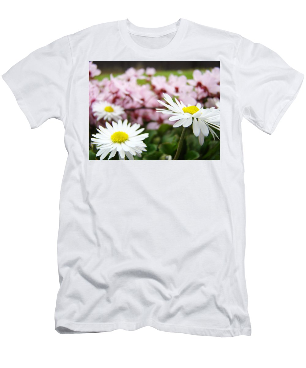 Daisies Men's T-Shirt (Athletic Fit) featuring the photograph Daisies Flowers Art Prints Spring Flowers Artwork Garden Nature Art by Baslee Troutman