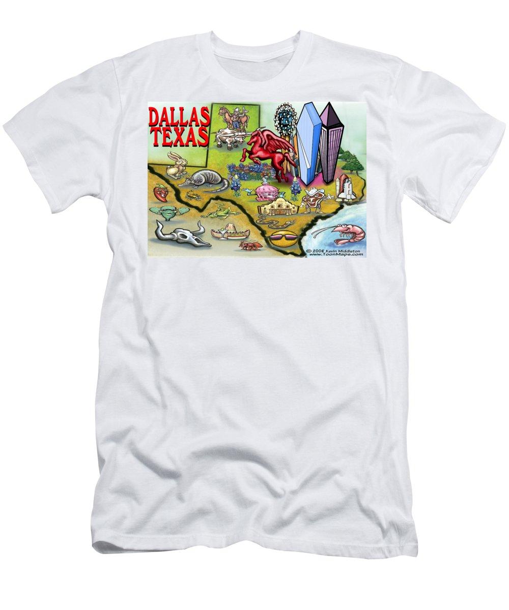 Dallas T-Shirt featuring the digital art Dallas Texas Cartoon Map by Kevin Middleton