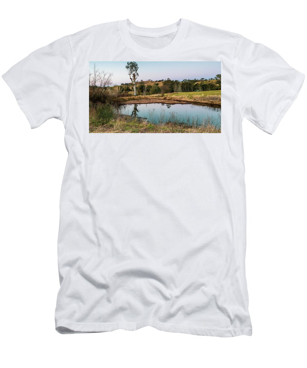 Acreage Men's T-Shirt (Athletic Fit) featuring the photograph Dam At Sunset Landscape by Merrillie Redden