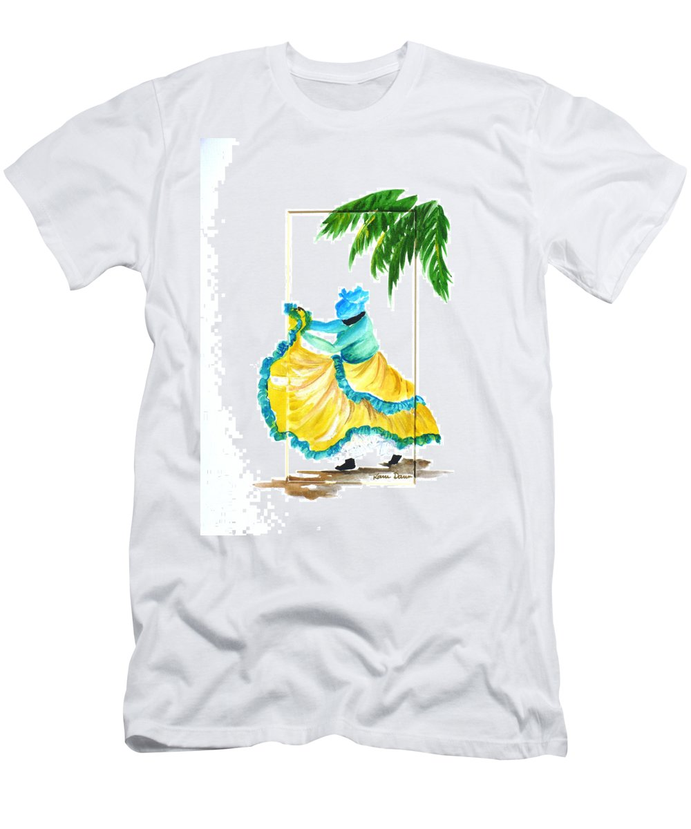 Dance Folk Caribbean Tropical Men's T-Shirt (Athletic Fit) featuring the painting Dance De Belaire by Karin Dawn Kelshall- Best