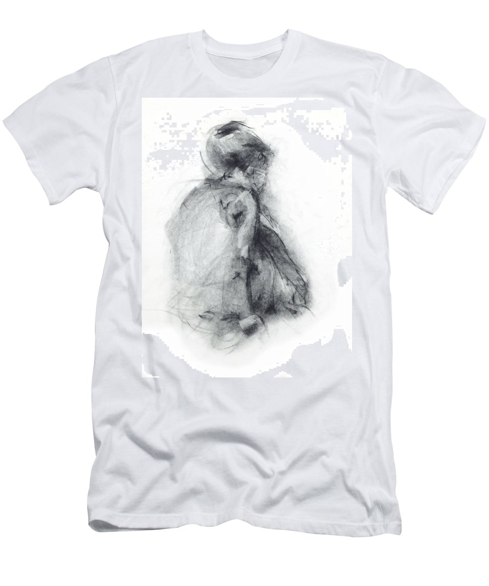 Dancer Men's T-Shirt (Athletic Fit) featuring the drawing Dancer - Tender by Christopher Williams