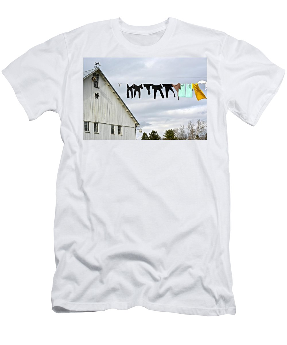 Amish Men's T-Shirt (Athletic Fit) featuring the photograph Dancing Amish Laundry by Tana Reiff