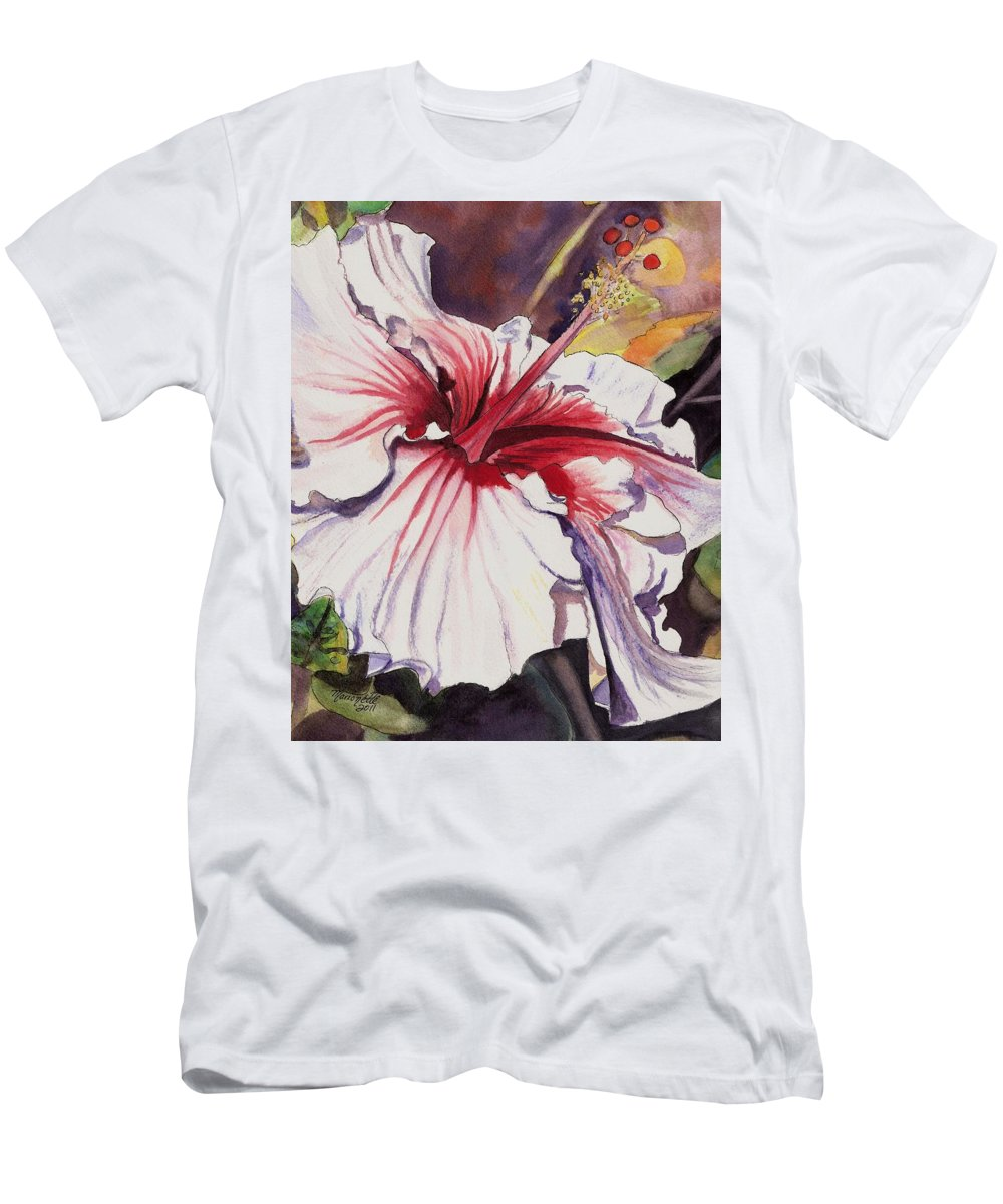Hibiscus Art Men's T-Shirt (Athletic Fit) featuring the painting Dancing Hibiscus by Marionette Taboniar