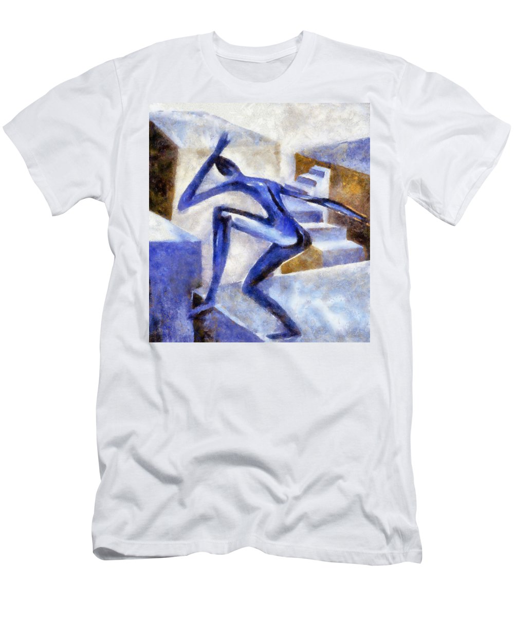 Conceptual Men's T-Shirt (Athletic Fit) featuring the painting Dancing Off The Edge Of The World by Michelle Calkins