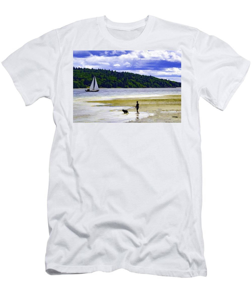 Beach Men's T-Shirt (Athletic Fit) featuring the photograph Day At The Beach by Josh Manwaring