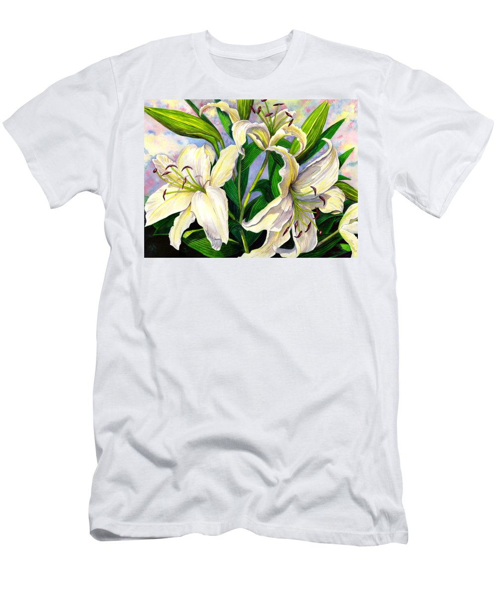 Lily Men's T-Shirt (Athletic Fit) featuring the painting Daylilies 2 by Catherine G McElroy