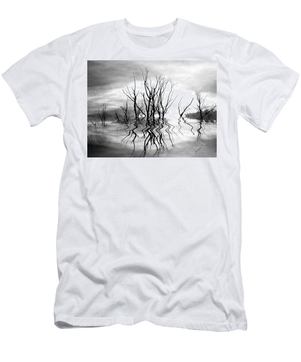 Photography Men's T-Shirt (Athletic Fit) featuring the photograph Dead Trees Bw by Susan Kinney